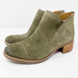 Korks Green Suede Leather MALDON Ankle Booties